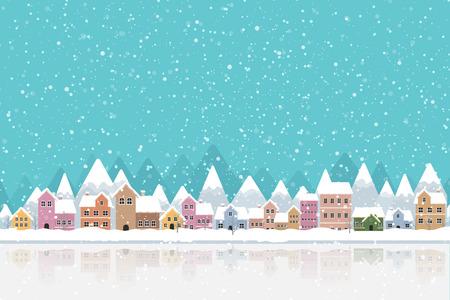La ville dans la neige qui tombe place la couleur plate et conçoit simplement l'illustration vectorielle Vecteurs