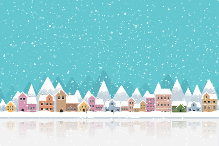 The town in the snow falling place flat color and simply design vector illustration