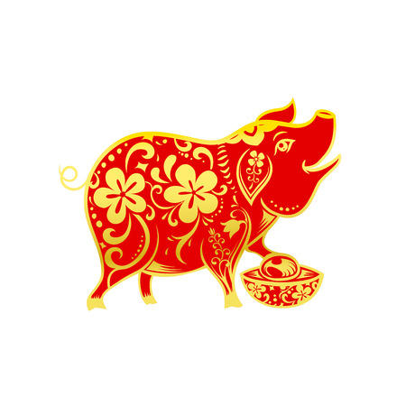 Chinese contemporary modern art red and golden line smile pig zodiac for chinese new year vector illustration