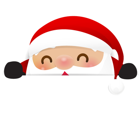 Christmas Santa claus cartoon smile and hiding behind blank paper with happiness and copy space vector illustration