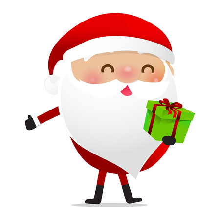 Happy Christmas character Santa claus cartoon isolated on white background vector illustration