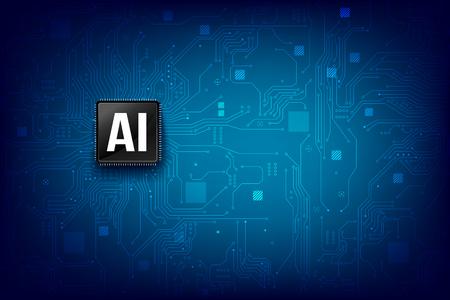 Jeu de puces de processeur de technologie d'intelligence artificielle d'IA avec l'élément de ligne de connexion de point de carte de circuit imprimé abstrait illustration vectorielle eps10