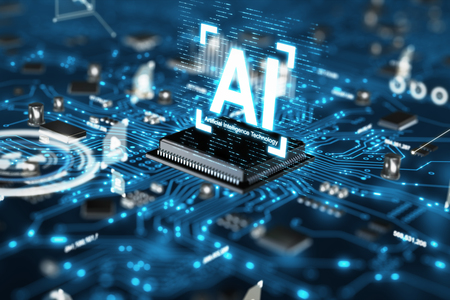 3D render AI artificial intelligence technology CPU central processor unit chipset on the printed circuit board for electronic and technology concept select focus shallow depth of field Banque d'images - 118799501