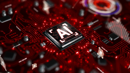 3D render AI artificial intelligence technology CPU central processor unit chipset on the printed circuit board for electronic and technology concept select focus shallow depth of field Banque d'images - 118799528