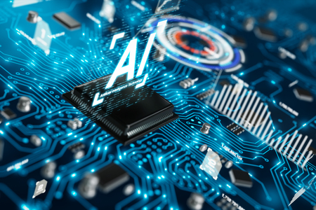 3D render AI artificial intelligence technology CPU central processor unit chipset on the printed circuit board for electronic and technology concept select focus shallow depth of field Banque d'images - 118799531