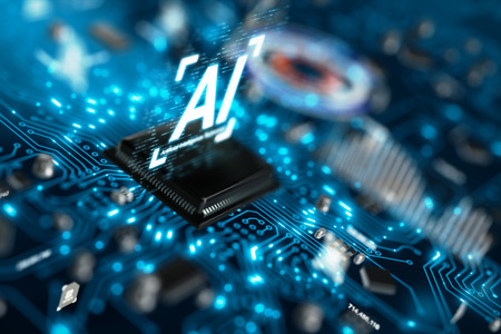 3D render AI artificial intelligence technology CPU central processor unit chipset on the printed circuit board for electronic and technology concept select focus shallow depth of field Banque d'images - 118799541
