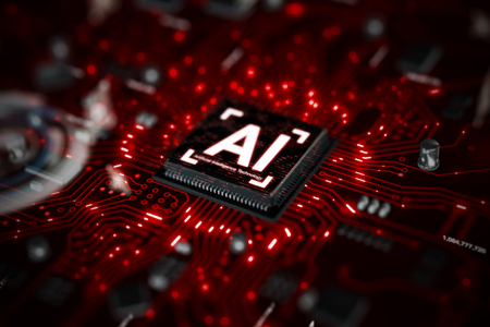 3D render AI artificial intelligence technology CPU central processor unit chipset on the printed circuit board for electronic and technology concept select focus shallow depth of field Banque d'images - 118799656