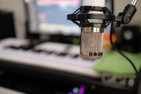 Studio condenser microphone select focus shallow depth of field