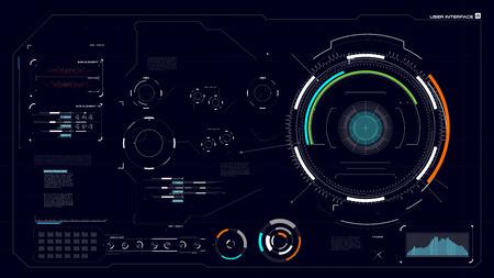 Interfaz de usuario HUD GUI UI Tecnología cibernética futurista para el diseño de pantalla de tecnología de realidad virtual con ilustración de vector de elemento de porcentaje de círculo de barra gráfica