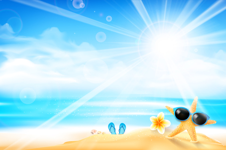The starfish is wearing sunglasses and flower on the beach over blur blue sky background with sunlight and flare element, with copyspace for summer vacation concept vector illustration eps10