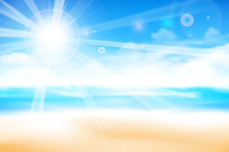 The beach over blur blue sky background with sunlight and flare element, with copyspace for summer vacation concept vector illustration eps10 Banco de Imagens