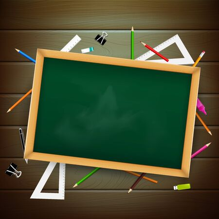 Blank blackboard over wooden board with stationaty pen pencil eraser ruler on the white background vector illustration