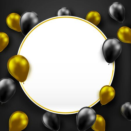 3D Bunches and groups of black and golden shiny and gross balloons flying by helium gas with blank white paper, for party, happy and celebrate decoration concept on white background Illustration