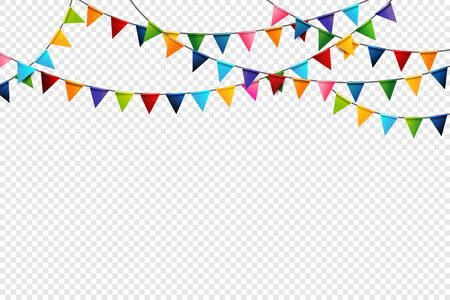 Rainbow colorful celebration triangle pattern flags design element for Carnival garland, holiday, festival, happy new year and birthday party invitations greeting card decoration vector illustration