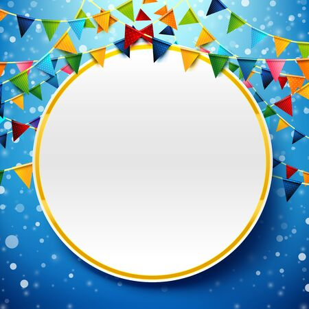 Blank circle with rainbow colorful celebration triangle pattern flags design element for Carnival garland, holiday, festival, happy new year and birthday party invitations greeting card decoration Иллюстрация
