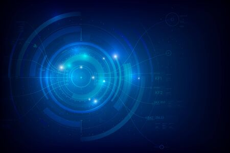 Fondo abstracto para el concepto futurista de la tecnología cibernética en la ilustración de vector de fondo azul oscuro