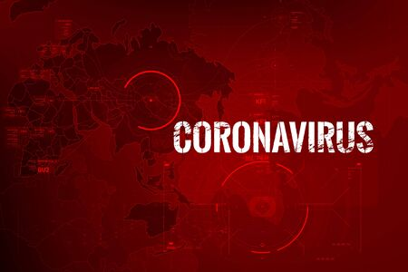 Coronavirus text outbreak with the world map and HUD circle element cyber futuristic concept, Abstract background virus hazard vector illustration