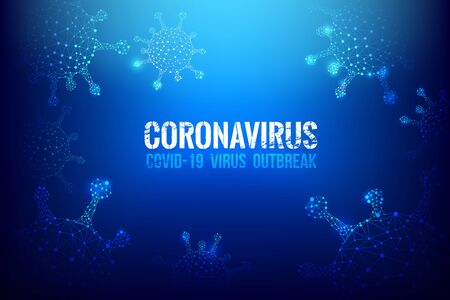 Coronavirus Covid-19 text outbreak with 3D wireframe virus cyber futuristic concept, Abstract background virus hazard vector illustration