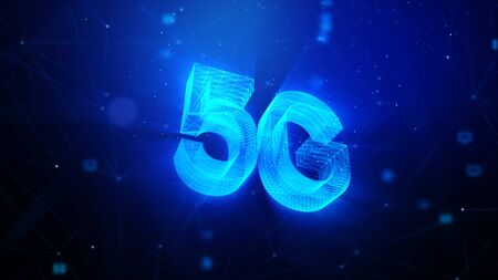5G technology abstract background, with blur lighting particle and connection line, for cyber technology futuristic and communication concept, glitter and shallow depth of field effect Zdjęcie Seryjne - 143113835