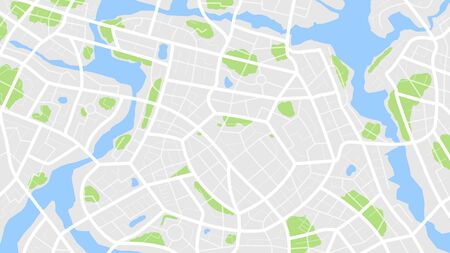 Clean top view of the day time city map with street and river, Blank urban imagination map, vector illustration  イラスト・ベクター素材