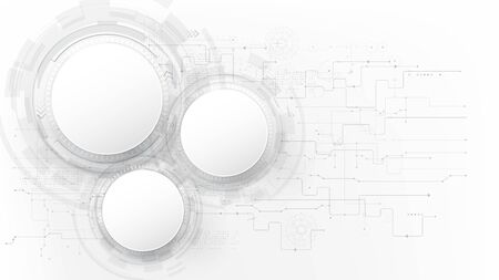 Futuristic and technology grey with a white abstract background, Circle HUD head-up display interface for communication and innovation cyber concept, with line arrow gear element, vector illustration