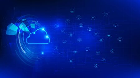 Futuristic and technology dark blue background, Cloud and internet of things icons for communication and innovation network concept, with line arrow gear element, vector illustration Stock Illustratie