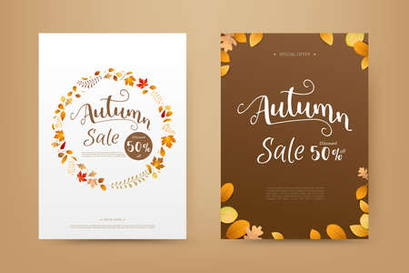 Hello Autumn word with dry leaf circle shape falling on background, for an autumn design element, vector illustration