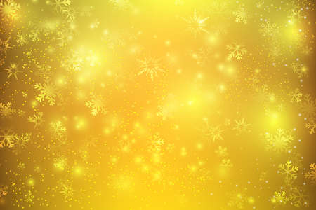 Christmas abstract background with snowflake, bokeh glittering lighting element, golden and snow background, vector illustration