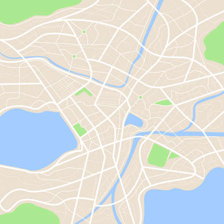 Clean top view of the day time city map with street and river, Blank urban imagination map, vector illustration