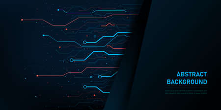 Abstract background electronic printed circuit board, with connection line and dot element on the dark background, for futuristic and network concept, vector illustration Vector Illustratie