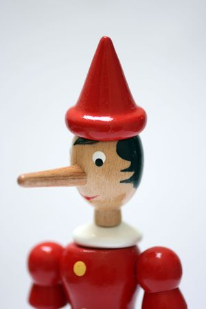 statue of pinocchio representing a liar Stock Photo