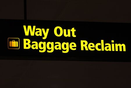 way out: Way out baggage reclaim sign at an airport Stock Photo