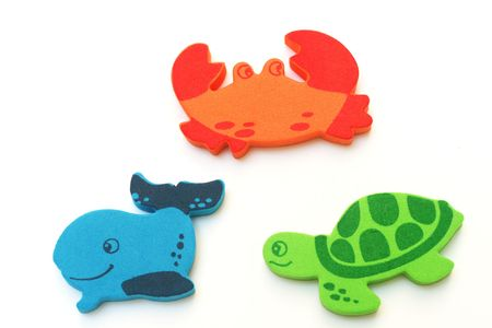 crab, whale and a turtle isolated on a white background photo