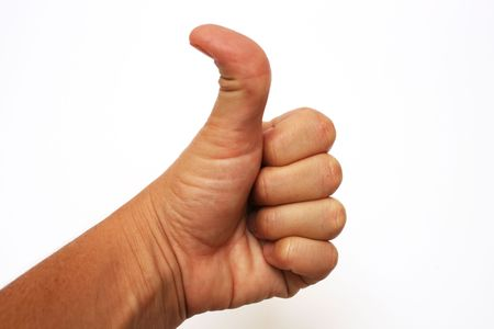 jointed: double jointed thumb giving the thumbs up! Stock Photo