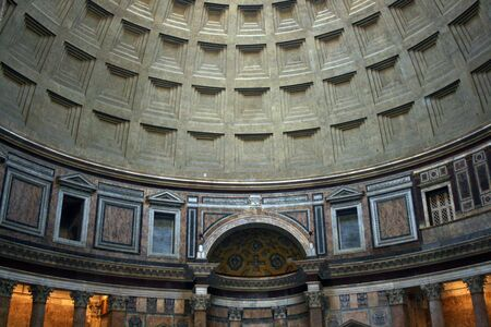 detai: Inside the Patheon, with detail of the dome. In Rome, Italy