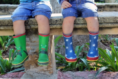 wellies: messy brother love after jumping in muddy puddles