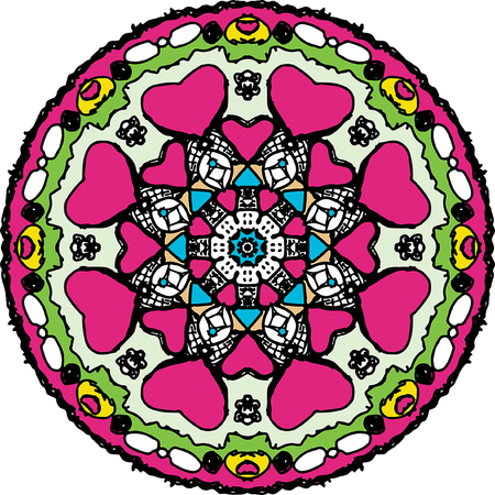Charmed coloring heart round mandala in bright pink color Banque d'images - 112194858