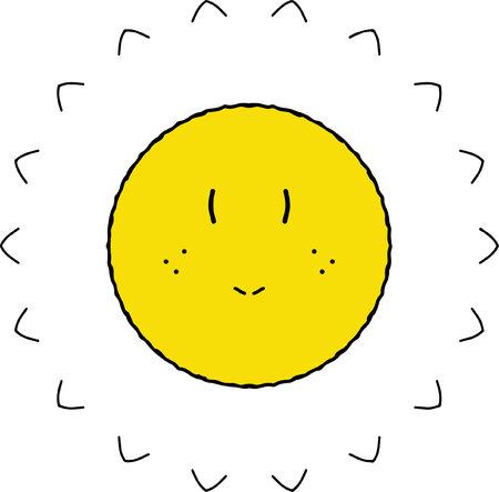 Doubtful shining yellow sun cartoon