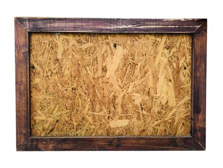 marcos decorativos: tabla de madera con marco de madera en el fondo blanco, aislado Foto de archivo