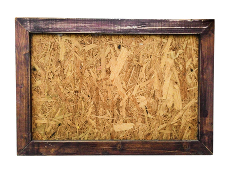 grunge frame: wooden board with wooden frame on white background, isolate