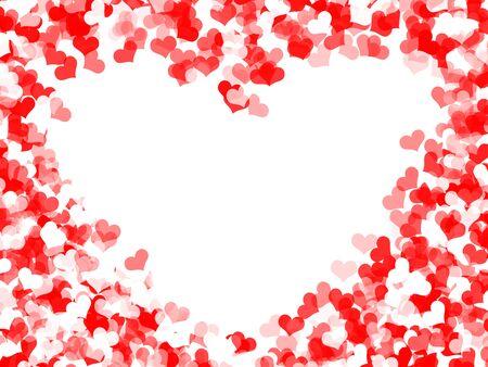 Herzen Rahmen für Valentinstag auf weißem Hintergrund