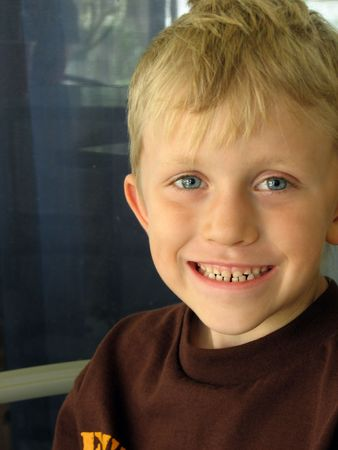 seven years: Portrait of a seven years old blond boy.