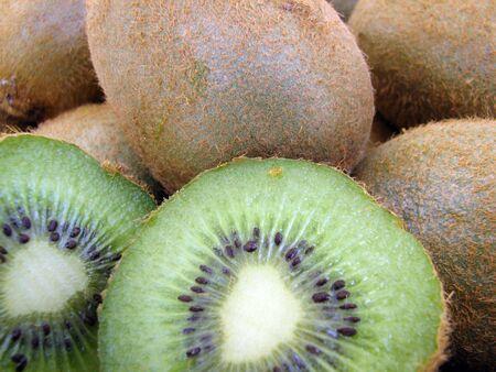 kiwifruit: Closeup of several kiwifruit. Stock Photo