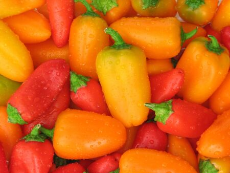Closeup of several colorful sweet mini peppers. Stock Photo
