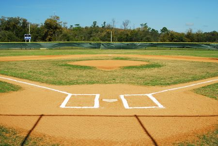 baseball diamond: Shot of an empty baseball field.