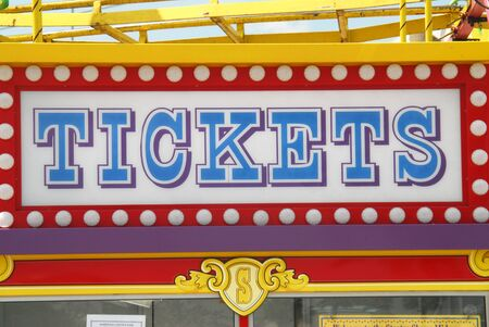 Shot of a Tickets sign on the tickets booth in a fair.  Sandford, Florida.