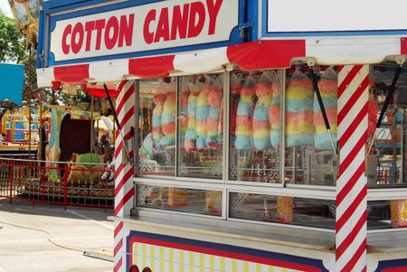 kiosk: Shot of a cotton candy kiosk at the carnival. Stock Photo