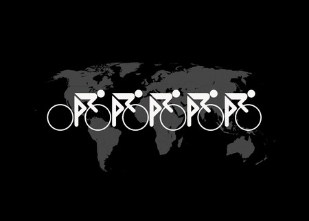 A team of cyclists speed across a world map in a global bicycle race. Reklamní fotografie