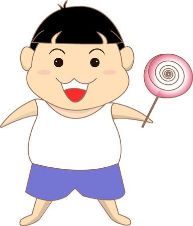 rotund: A boy with a lollipop