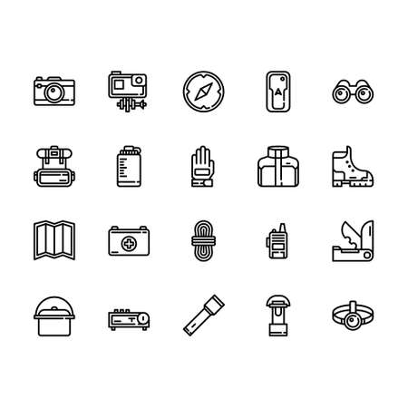 Adventure and Outdoor Gear Icon Set